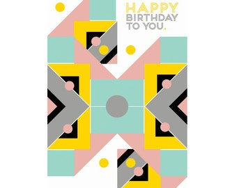 A6 Greeting Card - Happy Birthday Geo