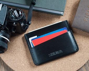 Black Horween Chromexcel Leather Card Holder Wallet