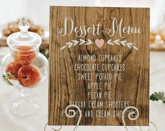 Wooden Dessert Menu   Dessert Menu   Wooden Wedding Signs   Wedding Menu Sign   Wood Menu Sign   Wood Dessert Menu   Rustic Menu - WM-6