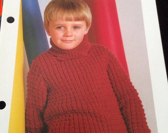 Vintage 1980's knit Pattern for a Boys Jumper/ Sweater