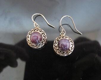 Vintage Star Ruby and 14k Gold Filigree Drop Earrings