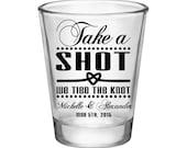 100x Take a Shot We Tied the Knot Wedding Custom Shot Glasses 1.75oz - Choose Artwork/Text Color - Great Wedding Favors!