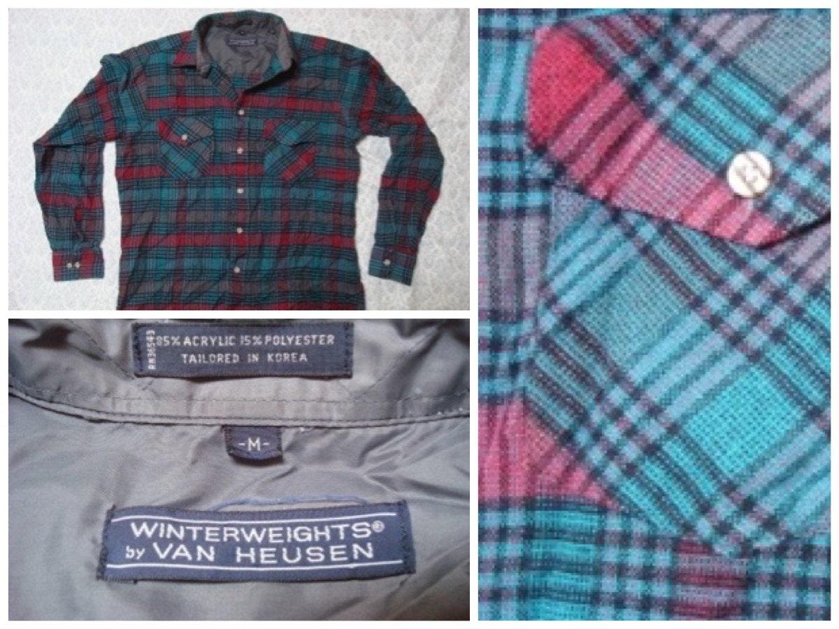 Vintage men 39 s van heusen winterweights flannel teal purple for Van heusen plaid shirts