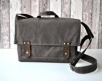 Gray canvas Messenger Bag  Shoulder Bag with Leather / For Women & Men / Large,