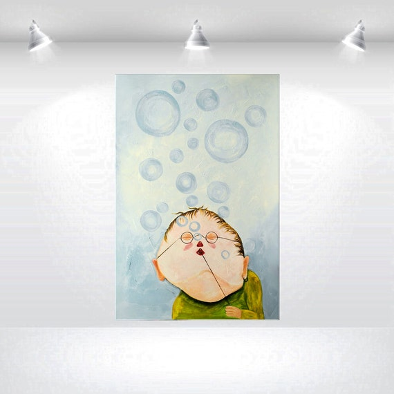 Abstract Acrylic Painting Large Wall Art Canvas Original Blue Colorful