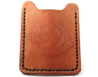 Flip Clip Mens Leather Wallet with Big Bear outline.