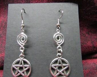 Pentagram earrings, Pentagram jewelry, Pentacle earrings, Pentacle jewelry, Pentagram and spiral earrings, Pagan earrings, Pagan jewelry,