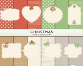 Frames and Digital Paper  - Christmas - Holiday -Clip Art  Scrapbooking - Red Green Silver - Commercial G7327