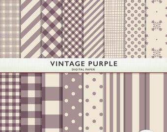 Digital Paper - Vintage Purple - 16 Sheets - Gingham Polka Dots Floral Card Making  Personal  Commercial  G7352