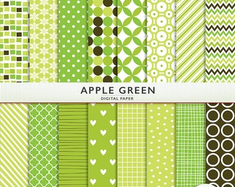 Apple Green Digital Paper - 16 Sheets - Scrapbooking Card Making  Personal  Commercial  Instant Download & Printable G7322