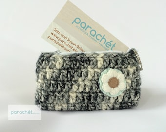 Crochet Coin Purse - Black and White Coin Purse with Key Chain