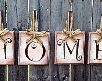 HOME - Fall Holiday Christmas Anytime Rustic Distressed Country Shabby Decor Wood Blocks Great Gift