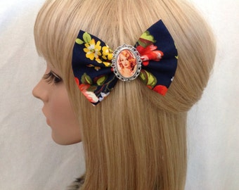Vintage Pin up girl hair bow clip rockabilly psychobilly kawaii floral navy fabric lace shabby chic pretty yellow retro ladies girls women