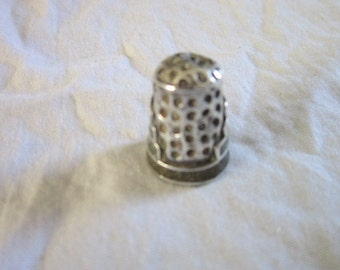 Vintage Inlaid Stone & Sterling Silver Sewing Thimble