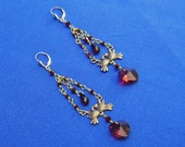 Earrings with Red Crystal Hearts & Bronze Doves - Vintage Design