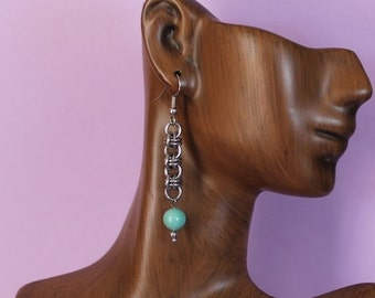 Stainless Steel Chainmaille Triple Barrel Earrings with Swarovski Pearl Dangles