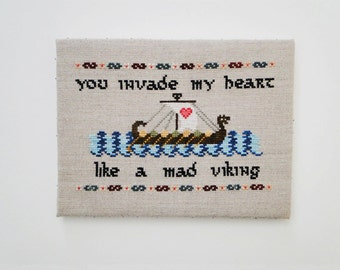 Invade My Heart Viking Chart/Pattern for Cross Stitch