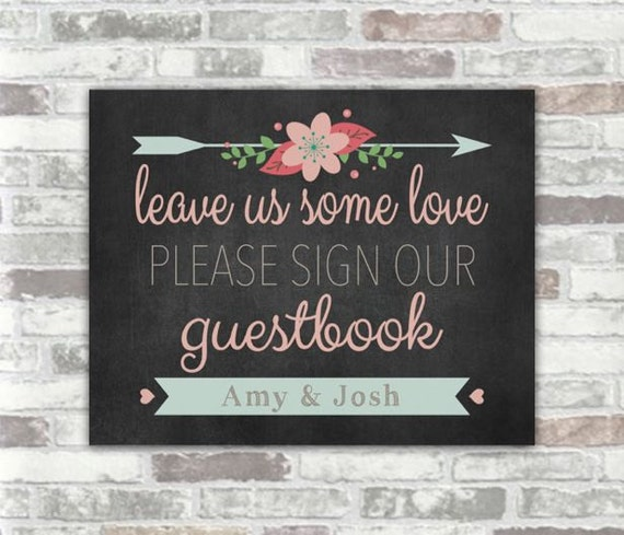 PRINTABLE Personalised Wedding Guestbook Sign - Chalkboard Style Digital Download Print File with pink florals flowers - Guest book - rustic