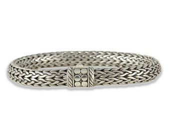 Sterling Silver Women's Bracelet 7 inch Handwoven with a Decorative Lock