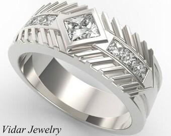 Men's Wedding Band 14K Gold Princess Cut Diamond,Unique Wedding Ring,Mens Wedding Band,Princess Cut Diamond Ring For Mens