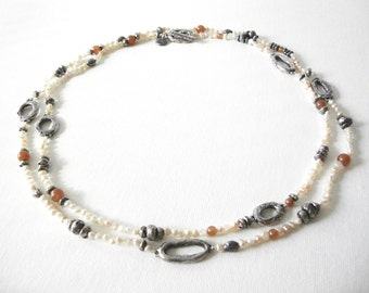 Vintage Sterling Silver Freshwater Pearl Necklace Marked SC 40 Inch Length