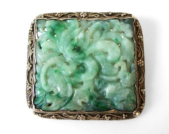 Vintage Chinese Hand Carved Pierced Jade Brooch In Silver Filigree Setting