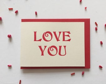 Love You Letterpress Printed Card