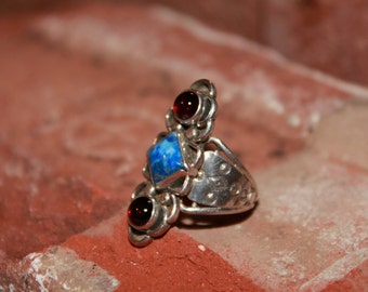 Handcrafted Sterling Silver Ring with Sodalite and 2 Garnet Gemstones