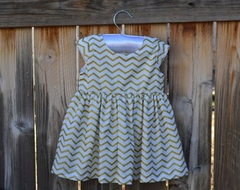 Gold Chevron Striped Girls Dress