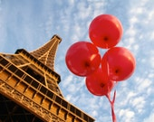 Paris red balloon photo, fine art Paris photography, travel photo, wall decor, Eiffel Tower Paris