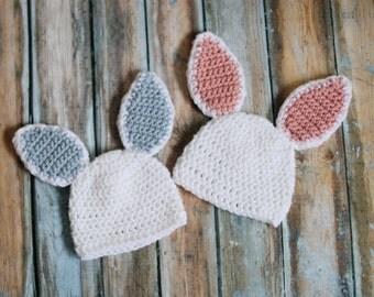 Boy Girl Twins, The Easter Bunny Hat, Baby Girl, Baby Boy,Twin Set, Baby Crochet Hat, Baby Bunny Beanie, Crochet Easter Hat, Easter Bunny