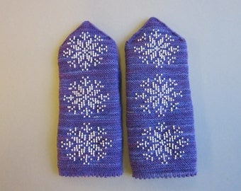 Winter Hand Knitted Mittens Double Mittens Mittens With  Beads Snowflake Gift for Her Womens Gifts