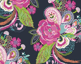 Baby Crib Bedding -Navy, Pink, Floral, Feathers, Roses