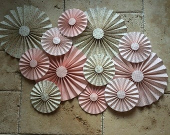 "Set of 12 Large 12"" / 6"" Paper Rosettes/Fans - Rose Pink, Roses, Gingham, Stripes, White, Cream"