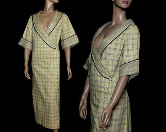 Vintage Dressing Gown Yellow Robe 1940s Gown Marilyn Monroe Gown Cotton Gown 1940s Robe