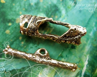 "Antique brass toggle clasp Archaic Aged Antique Handmade Findings Bronze  (L1129(1)""Archaic"" collection."