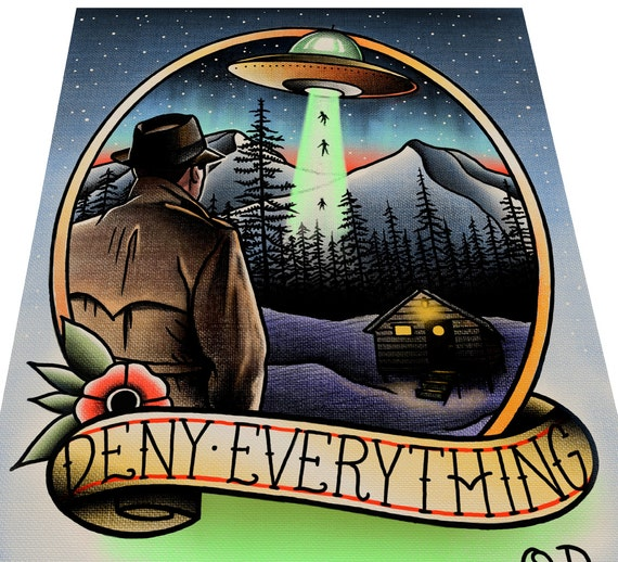 Deny Everything UFO Tattoo Art print