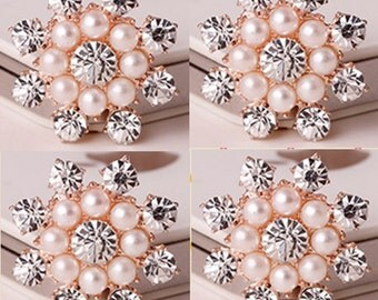 4 Flat Back Rhinestone and Pearl Button (24mm) DT-002
