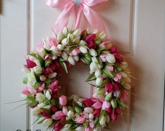 Tulip Wreath,Tulip wreath , Spring wreath , Summer Wreath, Mother's Day Gift, Pink Tulip Wreath