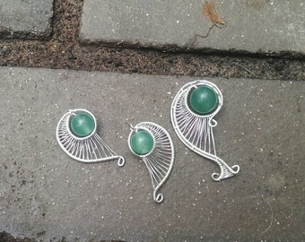 Sterling silver golden ratio earring and pendant set.