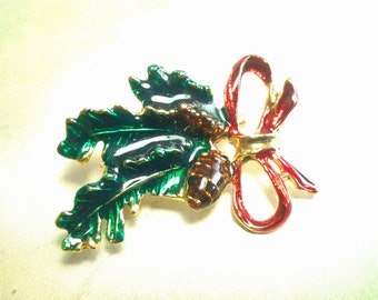 vintage costume jewelry christmas brooch pin crystal enamel