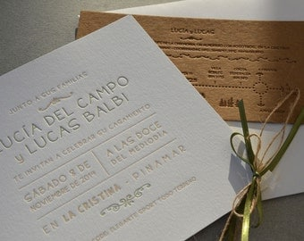 Letterpress Wedding invitations & map (envelopes included)