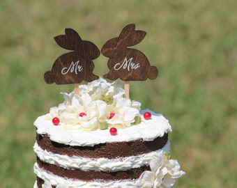 Bunny Cake Topper - Mr & Mrs Bunny - Bride and Groom - Rustic Country Chic Wedding