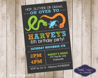 REPTILE BIRTHDAY INVITATION, Printable Reptile invitation, Reptile party invitations, Reptile Party, Reptile Typography Invitation