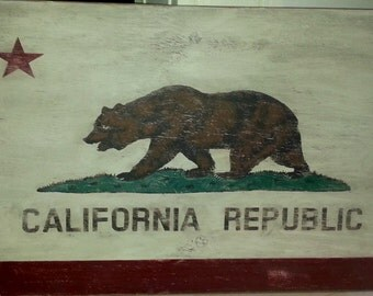 "Distressed California Flag wall decor-36.5"" x 24""/americana/patriotic/red white blue"