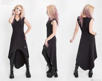 Long dress with asymmetric bottom, Удлиненное платье с ассиметричным низом