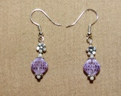 Purple Earrings Purple Glass Jewelry Earrings silver tone Lilac Earrings