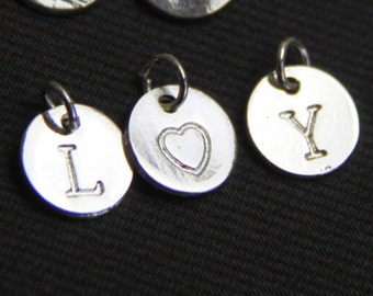 6 pcs of 10mm round letter charm silver