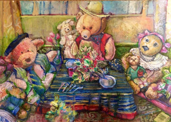 "Original oil painting, large wall art, teddy bears, 24"" x 36"""