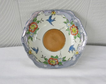 Vintage Decorative Japanese Handpainted Lustreware Bowl, Floral & Bluebird Design. Made in Japan, Mid Century.